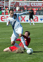 30 March 2013: Los Angeles Galaxy midfielder Marcelo Sarvas #8 and Toronto FC midfielder Terry Dunfield #23 in action during an MLS game between the LA Galaxy and Toronto FC at BMO Field in Toronto, Ontario Canada..The game ended in a 2-2 draw..