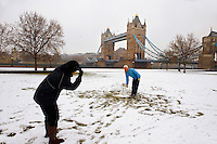 Snowman at Tower Bridge - London England