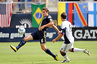 Stefani Miglioranzi (6) of the Philadelphia Union passes the ball. The Philadelphia Union and the New England Revolution  played to a 1-1 tie during a Major League Soccer (MLS) match at PPL Park in Chester, PA, on July 31, 2010.