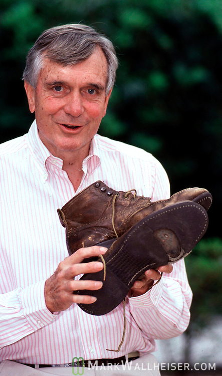 """""""Walking"""" Lawton Chiles with the boots he used during his walks across Florida in is US Senatorial campaign.  Photo was taken during his first run for Governor for Florida on April 18, 1990."""