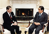 United States President Ronald Reagan meets with Minister of Foreign Affairs Shintaro Abe of Japan in the Oval Office on Friday, January 27, 1984..Mandatory Credit: Bill Fitz-Patrick - White House via CNP