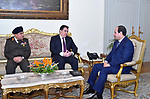 Egyptian President Abdel Fattah al-Sisi meets with Cypriot Defence Minister Christophoros Fokaides, in Cairo, Egypt, on April 12, 2017. Photo by Egyptian President Office