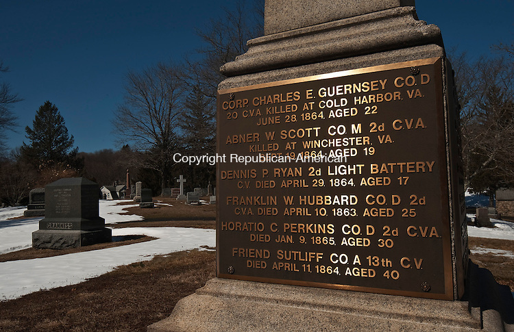 PLYMOUTH ,  CT,  CT-041115JS47- The Soldiers' Monument in Hilltop Cemetery in Terryville, lists the names of those who died while serving in the Civil War. The names became unreadable so bronze plaques were added in 1983.<br />  Jim Shannon Republican-American