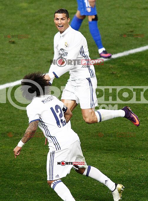 Real Madrid's Cristiano Ronaldo (r) and Marcelo Vieira celebrate goal during La Liga match. November 19,2016. (ALTERPHOTOS/Acero) /NORTEPHOTO.COM