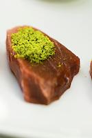 A Mediterranean red tuna fish with pistachio dish by Corrado Assenza