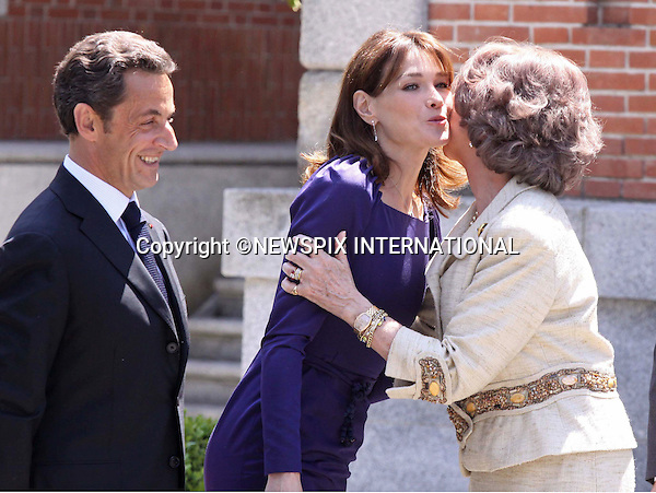 """PRESIDENT NICOLAS SARKOZY AND CARLA BRUNI MEET QUEEN SOFIA.King Juan Carlos, Queen Sofia, Prince Felipe and Princess Letizia received French President Nicolas Sarkozy and wife Carla Bruni for lunch at Zarzuela Palace. Madrid_27/4/2009.Mandatory Credit Photo: ©NEWSPIX INTERNATIONAL..**ALL FEES PAYABLE TO: """"NEWSPIX INTERNATIONAL""""**..IMMEDIATE CONFIRMATION OF USAGE REQUIRED:.Newspix International, 31 Chinnery Hill, Bishop's Stortford, ENGLAND CM23 3PS.Tel:+441279 324672  ; Fax: +441279656877.Mobile:  07775681153.e-mail: info@newspixinternational.co.uk"""