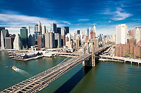 Over the Brooklyn Bridge on the East River in Manhattan.