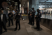NY, NEW YORK NOVEMBER 8: Police stand at the Hilton Hotel were the president elected host the election night event in New York  November 8, 2016.  Photo by VIEWpress/Maite H. Mateo.