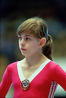 Oksana Omeliantchik of Soviet Union prepares to perform on balance beam at 1985 European Championships in women's artistic gymnastics at Helsinki, Finland in late April, 1985.  Photo by Tom Theobald.