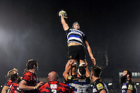 Charlie Ewels of Bath United in action at a lineout. Remembrance Rugby match, between Bath United and UK Armed Forces on November 9, 2015 at the Recreation Ground in Bath, England. Photo by: Patrick Khachfe / Onside Images