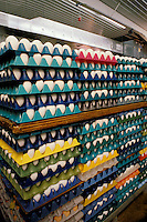 Egg processing plant featuring stacks of colorful levels of fresh eggs.
