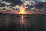 Boats on the water at sunset in Key Largo, Fla. April 27, 2011.