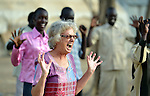 Sister Barbara Paleczny, a School Sister of Notre Dame from Canada, growls as she leads displaced teachers in morning stretching and yoga exercises in Agok, a town in the contested Abyei region where tens of thousands of people fled in 2011 after an attack by soldiers and militias from the northern Republic of Sudan on most parts of Abyei. Sister Paleczny is a member of Solidarity with South Sudan, an international network of religious orders and congregations assisting the newly independent country train teachers, health care personnel, and pastoral workers. The teachers in Agok were part of a continuing education program run by Solidarity with South Sudan at the request of the local Catholic parish. .