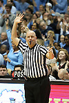 14 February 2016: Referee Brian Dorsey. The University of North Carolina Tar Heels hosted the University of Pittsburgh Panthers at the Dean E. Smith Center in Chapel Hill, North Carolina in a 2015-16 NCAA Division I Men's Basketball game. UNC won the game 85-64.