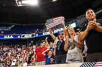 United States (USA) fans celebrate. The women's national team of the United States defeated the Korea Republic 5-0 during an international friendly at Red Bull Arena in Harrison, NJ, on June 20, 2013.