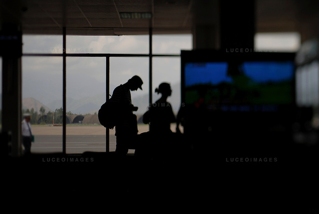 Tourists wait for the flight at the airport in Da Nang heading towards Ho Chi Minh City, Vietnam.