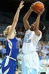 25 November 2012: North Carolina's Hillary Fuller (13) and Asheville's Jeannie Buckner (15). The University of North Carolina Tar Heels played the UNC Asheville Bulldogs at Carmichael Arena in Chapel Hill, North Carolina in an NCAA Division I Women's Basketball game. UNC won the game 101-42.