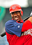 6 March 2009: Washington Nationals' outfielder Destin Hood prepares to take batting practice prior to a Spring Training game against the Baltimore Orioles at Fort Lauderdale Stadium in Fort Lauderdale, Florida. The Orioles defeated the Nationals 6-2 in the pre-season Grapefruit League matchup. Mandatory Photo Credit: Ed Wolfstein Photo