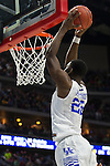 Forward Alex Poythress of the Kentucky Wildcats goes up for a dunk during the NCAA Tournament first round game against the Stony Brook Seawolves at Wells Fargo Arena on Thursday, March 17, 2016 in Des Moines, Iowa. Photo by Michael Reaves | Staff.