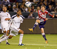 Chivas USA midfielder Sacha Kljestan takes a shot on goal. The LA Galaxy defeated Chivas USA 2-0 during the Super Clasico at Home Depot Center stadium in Carson, California Thursday evening April 1, 2010.  .