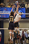 27 APR 2014: Angel Perez (15) of Springfield College spikes against Juniata College during the Division III Men's Volleyball Championship held at the Kennedy Sports Center in Huntingdon, PA. Springfield defeated Juniata 3-0 to win the national title.  Mark Selders/NCAA Photos