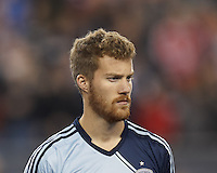 Sporting Kansas City midfielder Oriol Rosell (20). In the first game of two-game aggregate total goals Major League Soccer (MLS) Eastern Conference Semifinal series, New England Revolution (dark blue) vs Sporting Kansas City (light blue), 2-1, at Gillette Stadium on November 2, 2013.