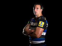 Will Spencer poses for a portrait in the 2015/16 home kit during a Bath Rugby photocall on September 8, 2015 at Farleigh House in Bath, England. Photo by: Patrick Khachfe / Onside Images