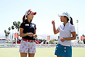 Momoko Ueda, Ai Miyazato (JPN), APRIL 3, 2011 - Golf : Ai Miyazato of Japan talks with Momoko Ueda of Japan after the final round of the Kraft Nabisco Championship at Mission Hills Country Club in Rancho Mirage, California, USA. (Photo by Yasuhiro JJ Tanabe/AFLO)