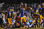 Oxford High's Jarius Barnes (1) celebrates his first quarter touchdown with Oxford High's Toler Presley (5) vs. Lafayette High at Bobby Holcomb Field in Oxford, Miss. on Thursday, August 30, 2012. Oxford High won 19-0.