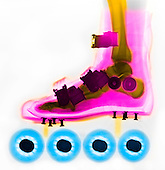 X-ray of a person's foot inside a roller blade skate