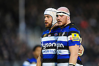 Matt Garvey of Bath Rugby looks on at a scrum. Aviva Premiership match, between Bath Rugby and Exeter Chiefs on December 31, 2016 at the Recreation Ground in Bath, England. Photo by: Patrick Khachfe / Onside Images