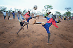 Children play football in one of several child friendly spaces run by the Lutheran World Federation, a member of the ACT Alliance, in the Ajuong Thok Refugee Camp in South Sudan. The camp, in northern Unity State, hosts thousands of refugees from the Nuba Mountains, located across the nearby border with Sudan.