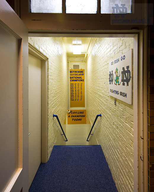 Dec. 11, 2012; Stairs from the locker room to the tunnel in Notre Dame Stadium...Photo by Matt Cashore/University of Notre Dame