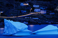 Town with icebergs..Newfoundland is an island province with virtually all of the population on the coastal fringes because the only jobs were to go out and fish.....