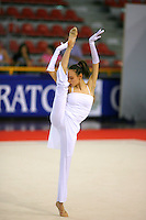 Romina Laurito of Italy holds delicate balance during gala exhibition at 2006 Trofeo Cariprato in Prato, Italy on June 17, 2006.  Romina placed 4th in All-Around at this international tournament.  (Photo by Tom Theobald)