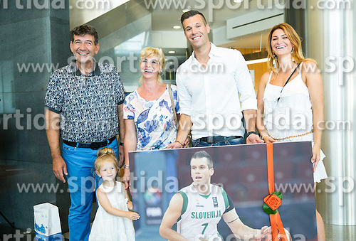 Father Memi Becirovic, mother, Sani and his sister Sanela after the Press conference after Sani Becirovic, Slovenian Basketball player ended his a long and successful career and started as Coach Assistant in Panathinaikos, on July 22, 2015 in Ljubljana, Slovenia. Photo by Vid Ponikvar / Sportida