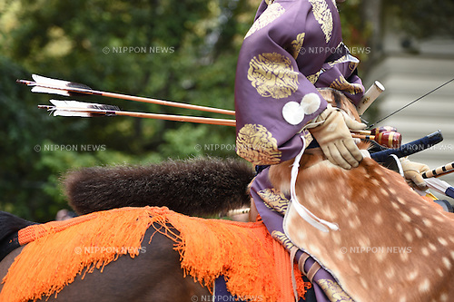 April 19, 2015, Kamakura, Japan - Archers wearing traditional Japanese costume participate in an horseback archery event aiming at a target from a galloping horse during the Yabusame Shinto ritual at Tsurugaoka Hachimangu Shrine in Kamakura on April 19, 2015.  (Photo by Hitoshi Mochizuki/AFLO)