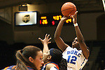 02 January 2012: Duke's Chelsea Gray (12). The Duke University Blue Devils defeated the University of Virginia Cavaliers 77-66 at Cameron Indoor Stadium in Durham, North Carolina in an NCAA Division I Women's basketball game.