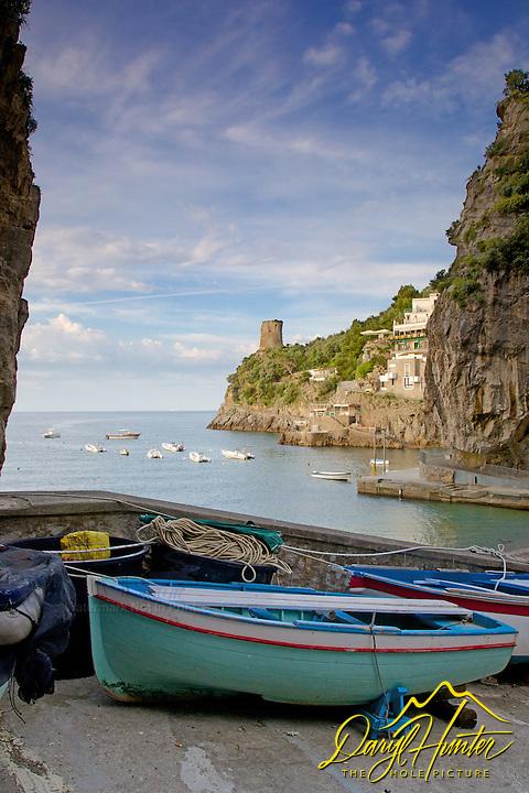 Fishing boats, Harbor, old village, Amalfi Coast, Italy