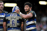 Amanaki Mafi of Bath Rugby looks on during a break in play. Aviva Premiership match, between Bath Rugby and Wasps on February 20, 2016 at the Recreation Ground in Bath, England. Photo by: Patrick Khachfe / Onside Images