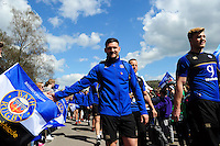 Jeff Williams and the rest of the Bath Rugby team make their way through the Tunnel of Noise prior to the match. Aviva Premiership match, between Bath Rugby and Sale Sharks on April 23, 2016 at the Recreation Ground in Bath, England. Photo by: Patrick Khachfe / Onside Images