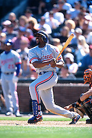 SAN FRANCISCO, CA - Vladimir Guerrero of the Montreal Expos bats during a game against the San Francisco Giants at Pacific Bell Park in San Francisco, CA in 2000. Photo by Brad Mangin
