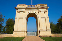 The neo-classic Corinthian Arch looking towards the south side of the Duke of Buckingham's Stowe House, Stowe, Buckingham, England