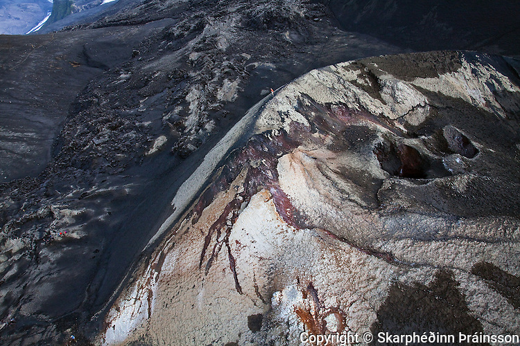 Arial view of the new born mountain on Fimmvörðuháls, south Iceland