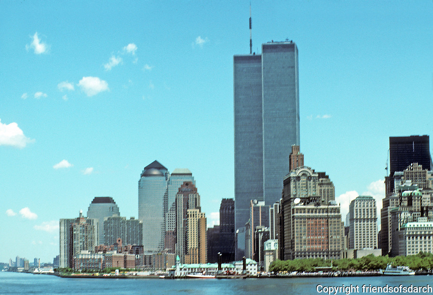 New York: Battery Park City and World Trade Center from Staten Island Ferry. Summer '91.