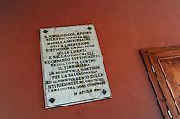 Colleferro.Targa commemorativa del 25 aprile e della Resistenza.