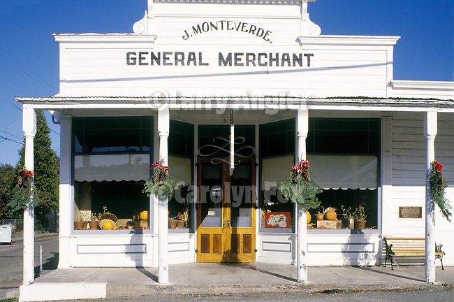 Front façade, historic Monteverde Store museum in Sutter Creek, CA...The family run store served Sutter Creek from 1898 to its closing in 1971. On display are period packaged goods, dry goods and other artifacts from the first three-quarters of the 20th century