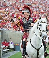 LOS ANGELES, CA - September 22, 2012:  USC mascot Traveler during the USC Trojans vs the Cal Bears at the Los Angeles Memorial Coliseum in Los Angeles, CA. Final score USC 27, Cal 9.
