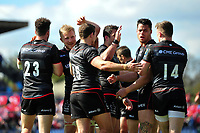 Saracens players celebrate a second half try from Brad Barritt. European Rugby Champions Cup Quarter Final, between Saracens and Glasgow Warriors on April 2, 2017 at Allianz Park in London, England. Photo by: Patrick Khachfe / JMP