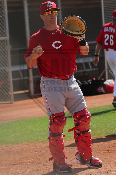 GOODYEAR - March 2013: Tucker Barnhart (68)  of the Cincinnati Reds during a Spring Training workout on March 18, 2013 at Goodyear Recreational Sports Complex in Goodyear, Arizona. (Photo by Brad Krause). .